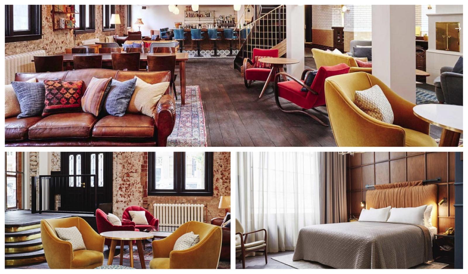 הלובי וחדר השינה של מלון הוקסטון