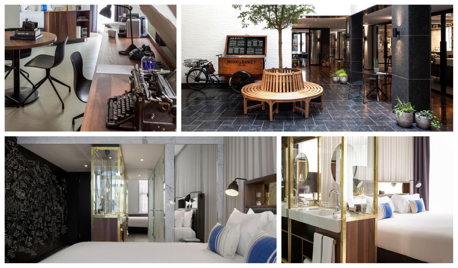 תמונות של חדר השינה והחצר של מלון אינק