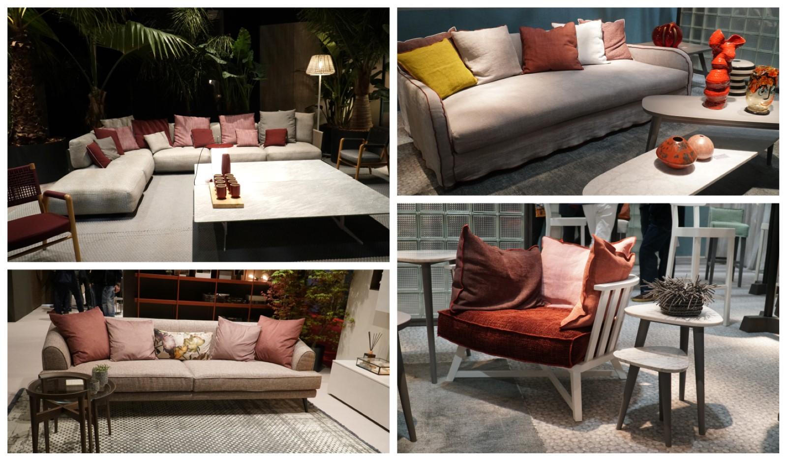 דוגמאות של רהיטים בשילוב הגוון הבורדו והאדום-ורוד