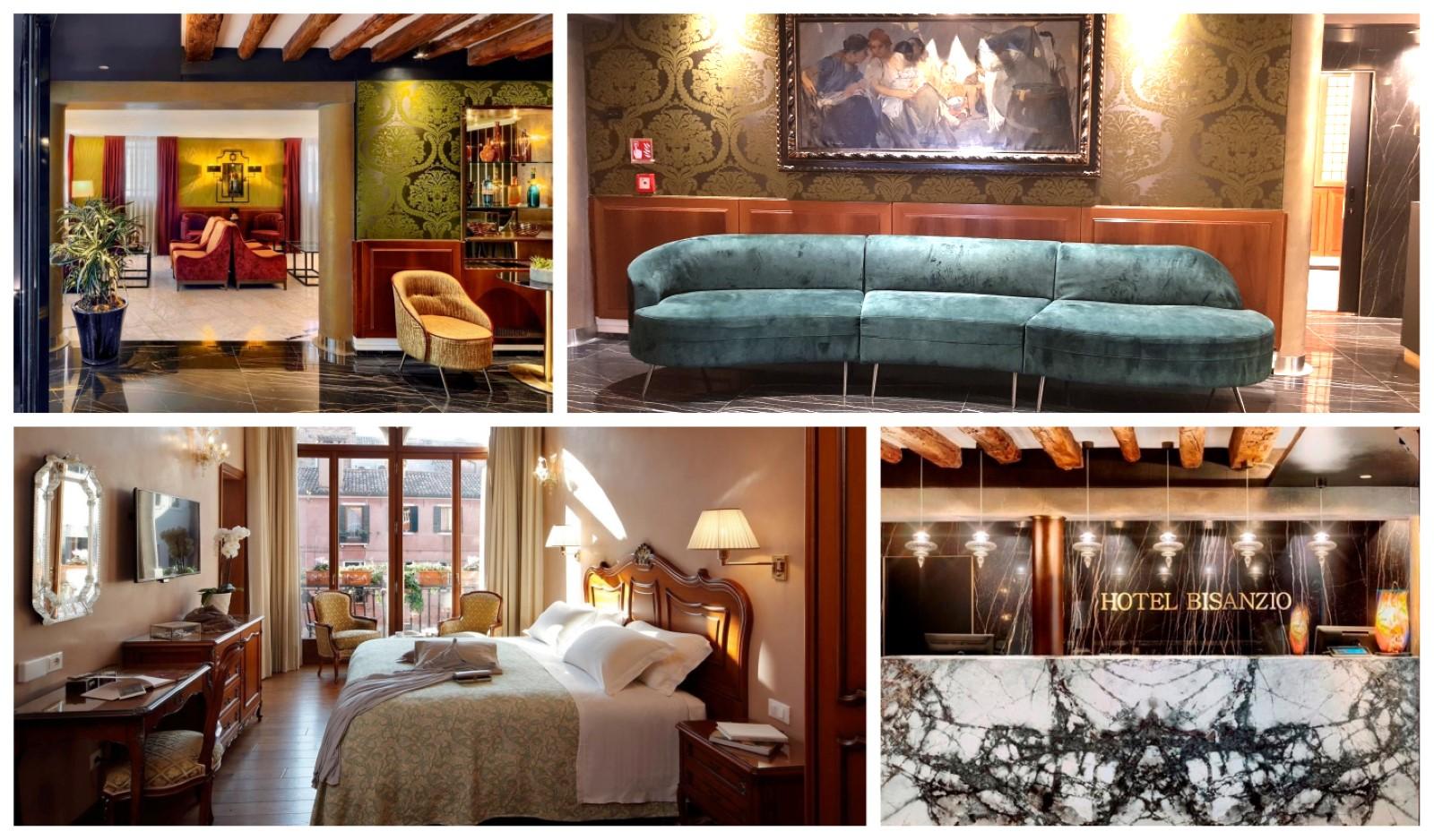 קולאג' תמונות של הלובי וחדר השינה